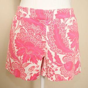 KENAR Pink & White Floral Print Textured Shorts
